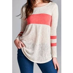 Women's Shirt Taupe Coral Stripe Long Sleeve Tunic